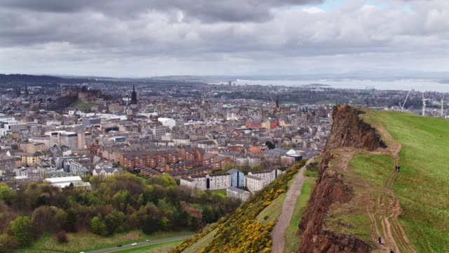 View of Edinburgh from Drone Over Salisbury Crags