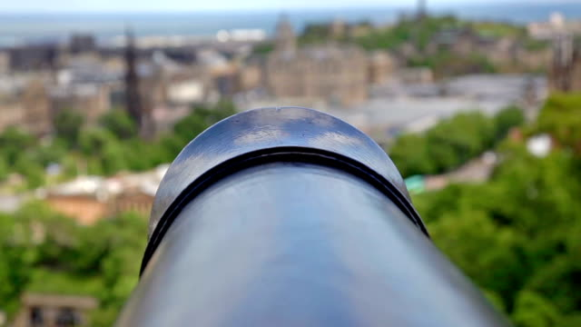 view of edinburgh from the castle, scotland - artillery stock videos & royalty-free footage