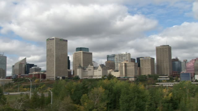 ws pan view of edmonton skyline / edmonton, alberta, canada     - alberta stock videos & royalty-free footage
