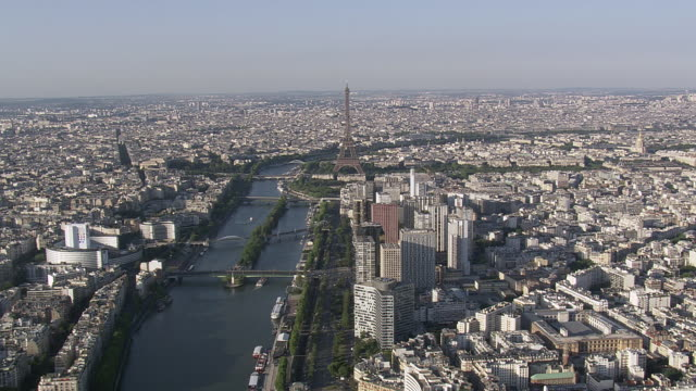 WS AERIAL View of Eiffel Tower and Seine from west / Paris, France