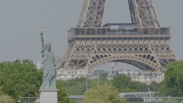 ms tu view of eiffel tower, replica statue of front / paris, france - replica eiffel tower stock videos & royalty-free footage