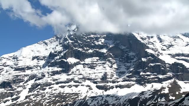 ws view of eiger, bernese alps / mannlichen, bernese oberland, switzerland - bernese alps stock videos & royalty-free footage