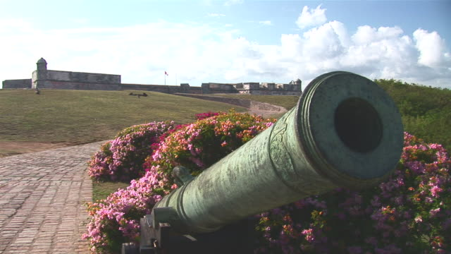 ws view of el morro fort with canon / santiago de cuba city, santiago de cuba, cuba - santiago de cuba stock videos and b-roll footage