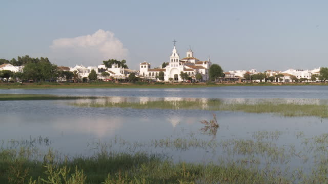 ms view of el rocio town,ermita del rocio and pilgrimage / huelva, andalusia, spain - huelva province stock videos & royalty-free footage