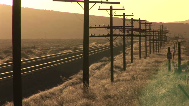 view of electric posts at evening in wyoming united states - telegraph pole stock videos and b-roll footage