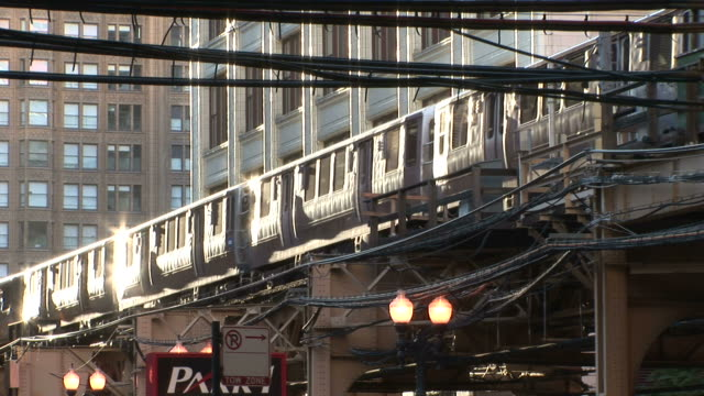 view of elevated train in chicago united states - chicago 'l' stock videos & royalty-free footage