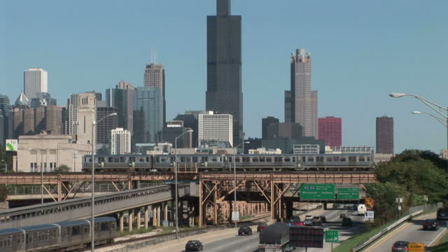 View of Elevated train in Chicago United States
