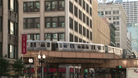 view of elevated train passing through flyover in chicago united states - elevated train stock videos & royalty-free footage