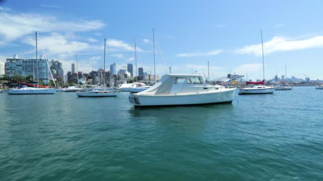 stockvideo's en b-roll-footage met a view of elizabeth bay marina. - voor anker gaan