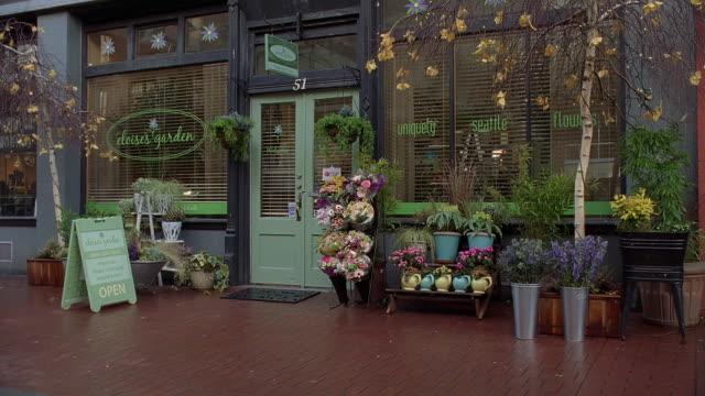 ws view of eloise's garden flower shop / seattle, washington, usa - flower shop stock videos & royalty-free footage