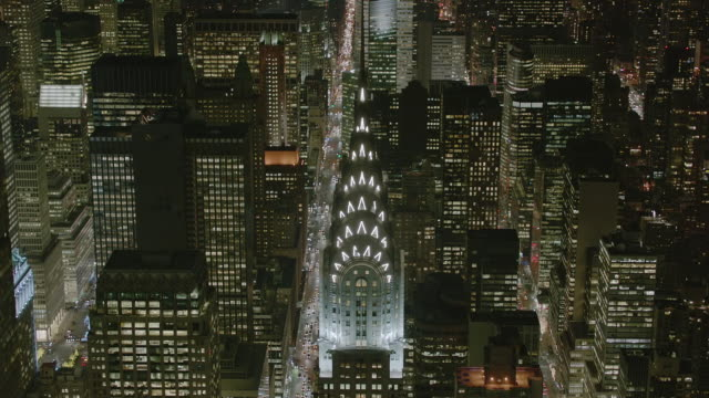 aerial ms td view of empire state building with busy roads at night / new york city  - 2014 stock videos and b-roll footage