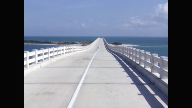 WS POV View of empty bridge over ocean / United States