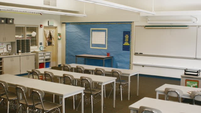 ws pan view of empty classroom / edmonds, washington, usa - see other clips from this shoot 1750 stock videos and b-roll footage