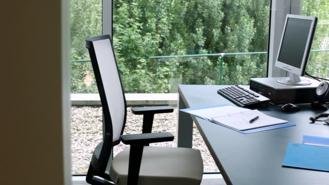 ms zo cu view of empty  office  / brussels , brabant, belgium - office chair stock videos and b-roll footage