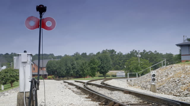 ws view of empty railway track with railway signal / chattanooga, tennessee, united states - railway signal stock videos & royalty-free footage
