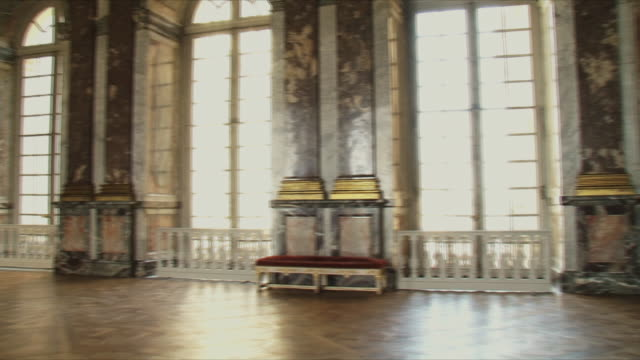 ms pan view of empty room interior / versailles, ile de france, france - chateau de versailles stock videos and b-roll footage