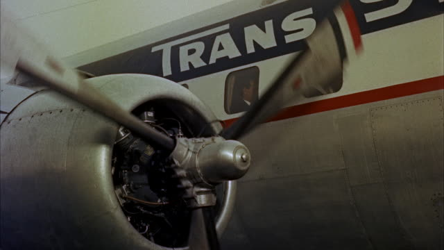 CU View of engine of dc-6 four-engine propeller-driven passenger airplane