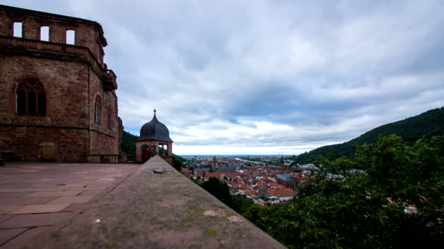 view of enjoying tourists and edge side of heidelberg castle - heidelberg castle stock videos & royalty-free footage