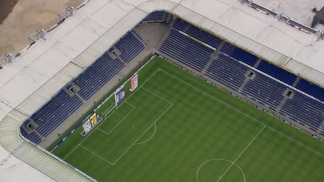 ws aerial zi zo view of entrance of brondby stadium / copenhagen, denmark - copenhagen stock videos & royalty-free footage