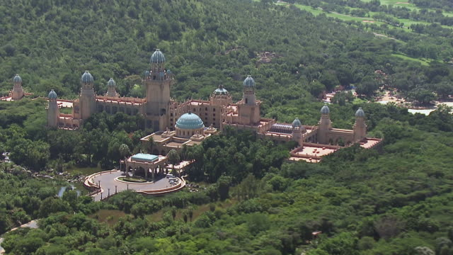 MS AERIAL ZO View of entrance of Sun City Casino and resort / South Africa