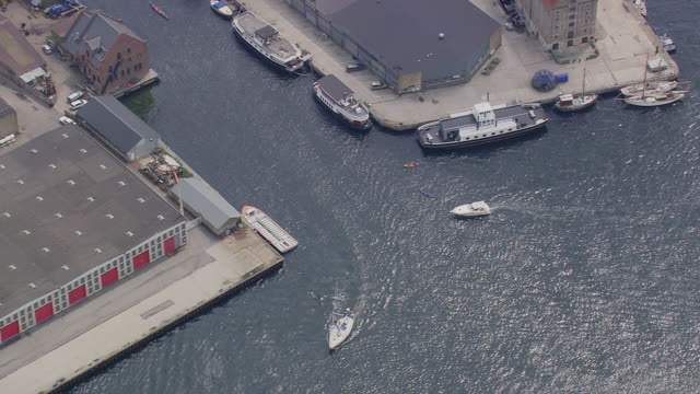 ws aerial view of entrance to christianhavns canal / copenhagen, denmark - oresund region stock videos & royalty-free footage