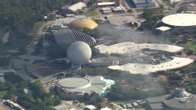 aerial ws zi zo view of epcot centre / florida, united states - epcot stock videos and b-roll footage