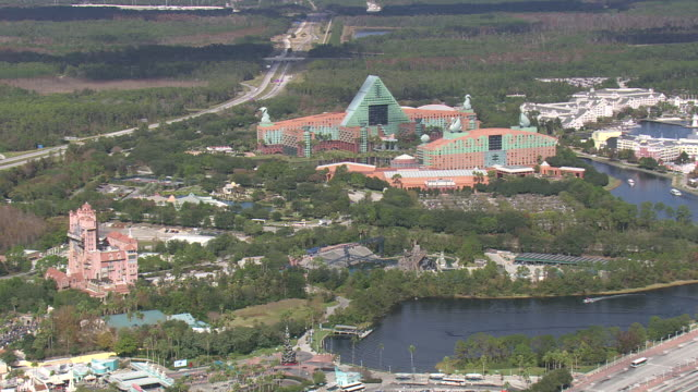 aerial ws view of epcot centre / florida, united states - epcot stock videos and b-roll footage