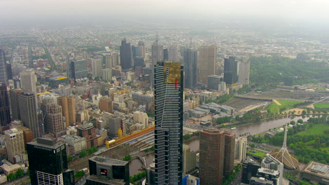 WS AERIAL ZI View of Eureka Tower and city / Melbourne, Victoria, Australia