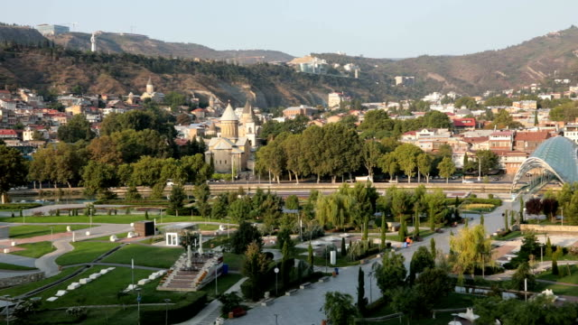 vídeos y material grabado en eventos de stock de view of europe square with rike park, tbilisi, georgia - georgia