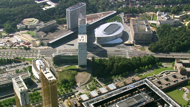 ms aerial ds view of european commision admin building / luxembourg - european commission stock videos & royalty-free footage
