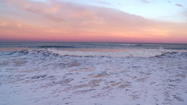 MS view of evening breaking waves in beach / Biarritz, Pyr̩n̩es Atlantique, France