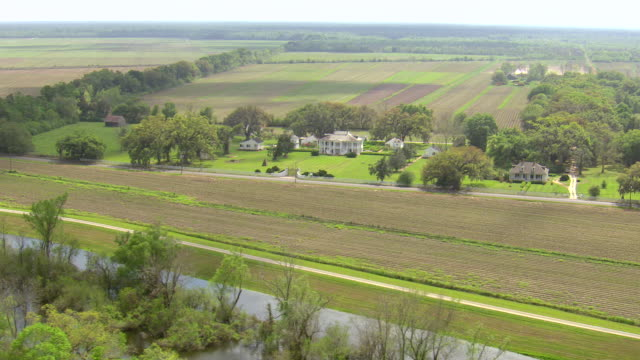 WS AERIAL View of evergreen plantation near wallace / Louisiana, United States
