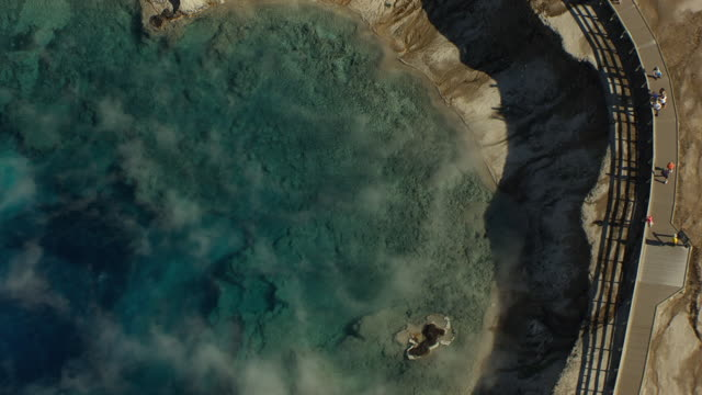 AERIAL view of Excelsior Geyser Crater and tourists on boardwalk at Yellowstone National Park