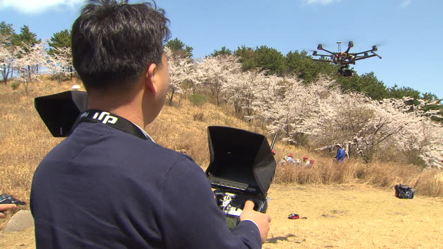 View of expert controlling Drone(Unmanned Aerial Shooting Equipment)