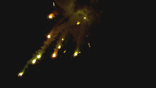 ws slo mo view of explosion of fire sparks / burbank, california, usa - burbank stock-videos und b-roll-filmmaterial