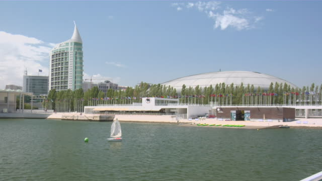 ws view of expo with atlantic pavilion in background / lisbon, portugal - pavilion video stock e b–roll