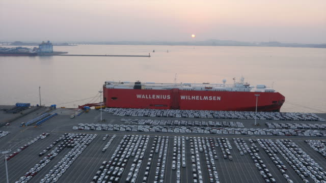 View of export pier with Large group of cars parking in a row at Pyeongtaek port