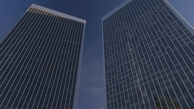 ws view of exterior of hi-rise office building exterior / century city, california, usa - century city stock videos & royalty-free footage