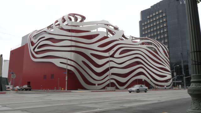 view of exterior of petersen automotive museum, los angeles, california, united states of america, north america - fire hydrant stock videos & royalty-free footage