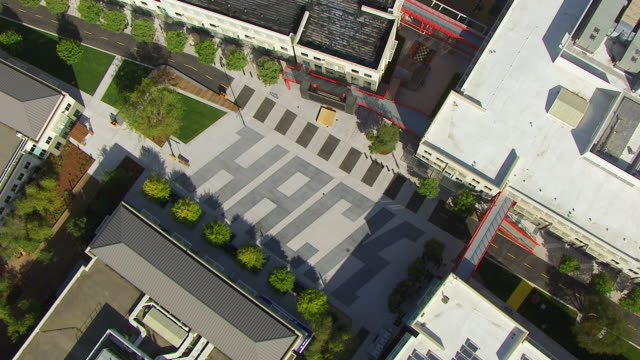 WS ZI AERIAL POV View of Facebook campus area / Menlo Park, California, United States