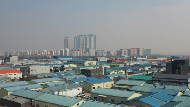 view of factory district and cityscape in ilsan, gyeonggi-do, south korea - industrial district stock videos & royalty-free footage