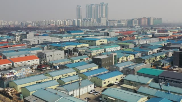 view of factory district in ilsan, gyeonggi-do, south korea - industrial district stock videos & royalty-free footage