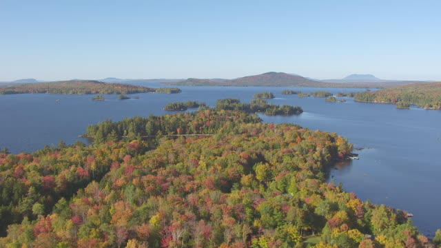 ws aerial pov view of fall forest with moosehead lake and lakeshore area, mountain in background / piscataquis county, maine, united state - lakeshore stock videos & royalty-free footage