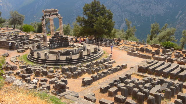 WS View of famous Greek Temple of Athena place of Philosophy for Socrates Oracle of stone from above / Delphi, Greece