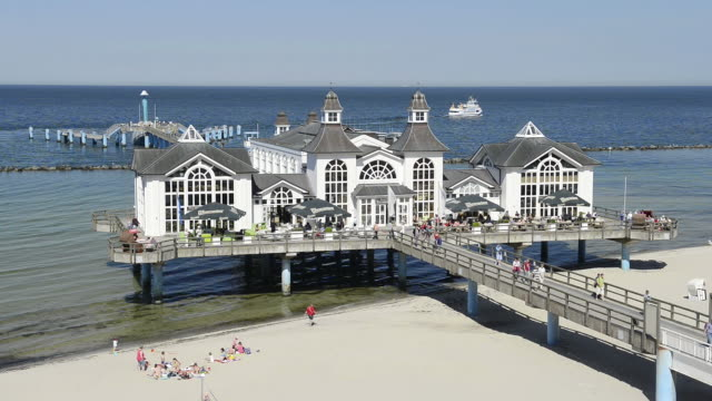ws view of famous pier at seaside resort / sellin, rugen / mecklenburg western pomerania, germany - baltic sea stock videos and b-roll footage