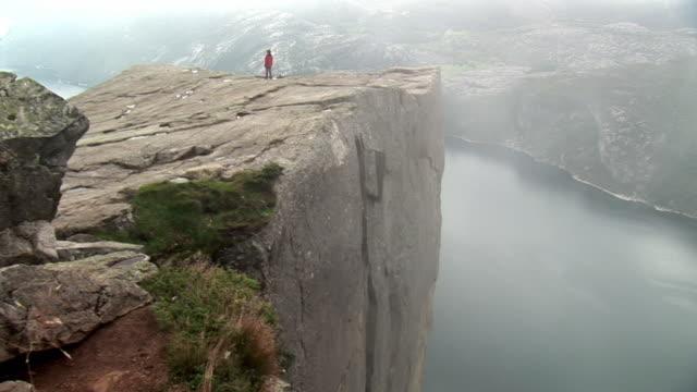 WS TU View of famous rock at Fjord platform / Lysefjord, Prekestolen, Norway