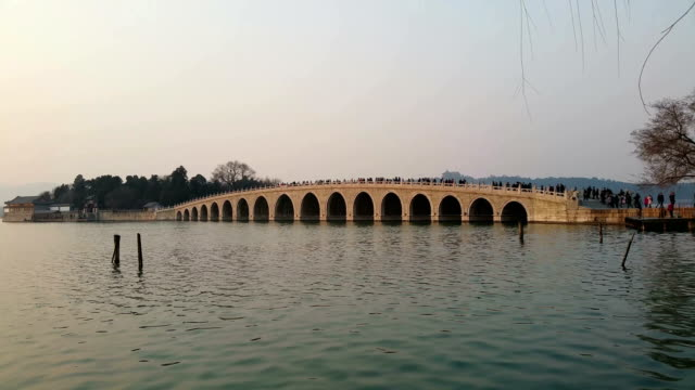 A view of famous seventeenarch bridge in the Summer Palace on March 4 2017 in Beijing China