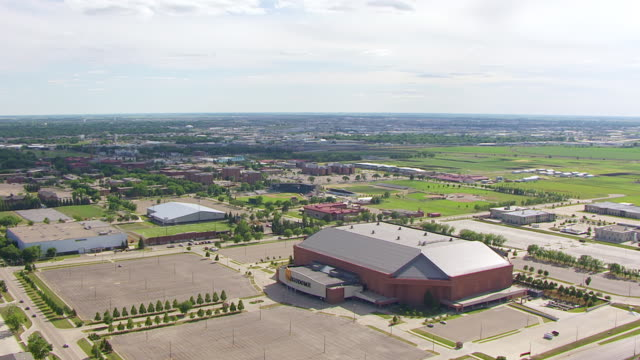 WS AERIAL ZI View of Fargo dome at North Dakota State University / Fargo, North Dakota, United States