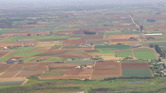WS AERIAL View of farm and houses / Werribee, Victoria, Australia