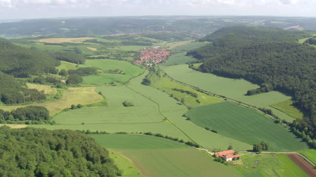 ws aerial view of farm field and houses near national park heinich / germany - turingia video stock e b–roll
